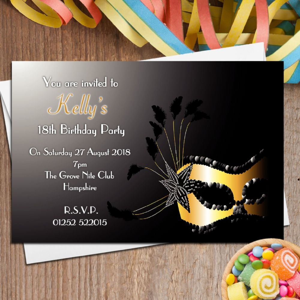 10 Personalised Masquerade Mask Party Invitations N94